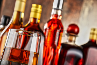 Bottles of assorted alcoholic beverages.