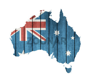 Australian Map With Wooden Flag
