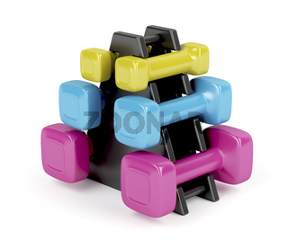 Rack with dumbbells