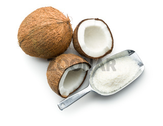 grated, whole and halved coconut