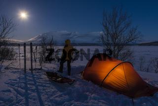 Zelt im Mondenschein, Akkajaure, Lappland