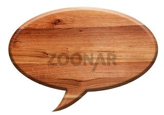 Wooden speech balloon board isolated on white