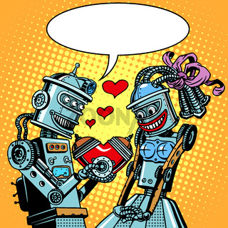 Robots man woman love Valentines day and wedding