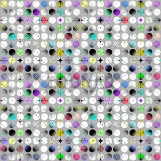 Muster aus bunten gemusterten Kreisen auf grauem Grund
