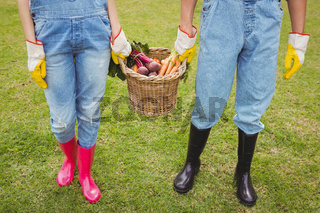 Young couple holding a basket of freshly harvested vegetables