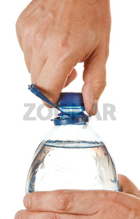 hand unscrew the cork on a bottle of water