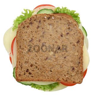 Sandwich Toast zum Frühstück belegt mit Käse Freisteller von oben
