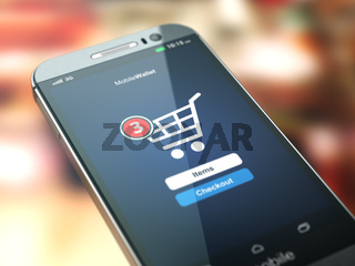 Online shopping concept. Mobile phone or smartphone with cart on the screen.