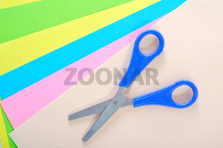 scissors and color paper