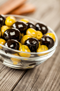 Olives on a wooden table