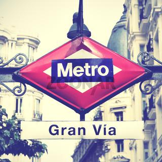 Metro sign in Madrid