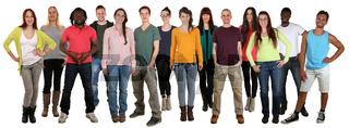 Lachen glücklich multikulturell Gruppe junge Menschen