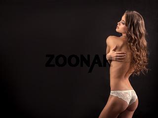 slim topless model