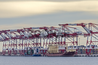 Dockside Cranes and Container Ship Barcelona Spain