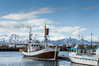 Whale-watching boat enters Husavik harbor on Iceland