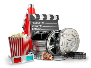 Video, movie, cinema vintage production concept. Film reels, cla