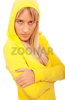 Girl in yellow hood