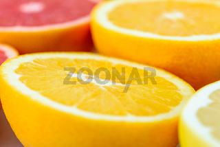 Red Oranges, Oranges And Grapefruit Citrus Fruit Slices