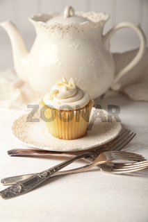 Vanilla cupcake ready to eat