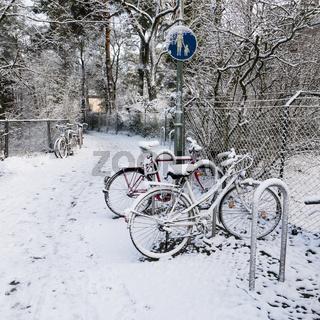 Fahrräder im Winter, bicycles in winter