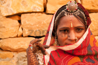 Secrecy traditional Indian girl