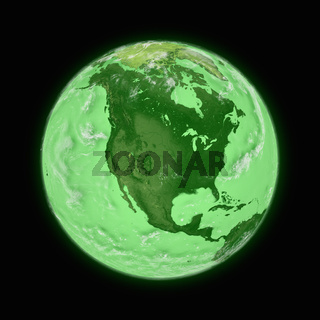 North America on green planet Earth isolated on black background. Highly detailed planet surface. Elements of this image furnished by NASA.
