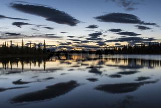 Abenddaemmerung, Sjaunja Naturreservat, Welterbe Laponia, Lappland