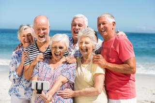 Senior friends taking selfie