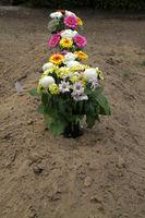 Blumenvasen auf einem frischen Grabhügel