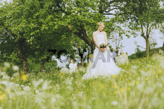 Garden Wedding Bride with flowers