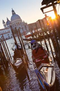 Gondolas in Grand Canal of Vienice, Italy.