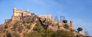 Domed tower and fortified wall of Kumbhalgarh Fortress near Udaipur, India