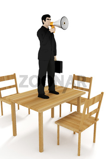 Businessman with megaphone on the table