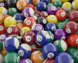 Group of shiny billiard balls with soft edges.