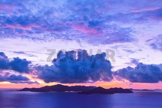 Island Praslin Seychelles at sunset