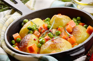 Pan of Boiled and baked potato