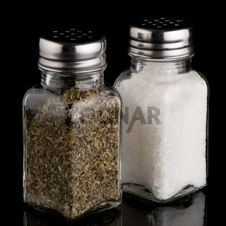 Salt and oregano shakers