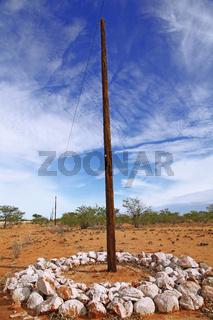 Vor Elefanten geschützter Strommast, Namibia, energy pylon with protection against elephants, Namibia