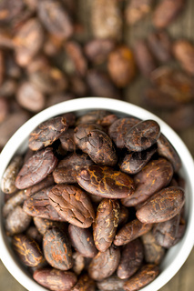 cocoa beans in bowl