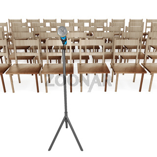 Microphone with empty chairs