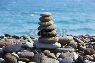 Stone pyramid on a seashore