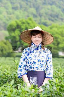 beautiful Asian girl in tea plantation