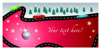 Christmas card with road and cars