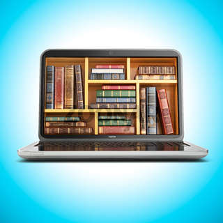 E-learning education internet library or book store. Laptop and vintage books on blue background.
