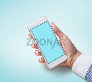 Woman using white smart phone. Clipping path included.