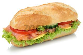 Sandwich Baguette belegt mit Lachs Fisch Freisteller