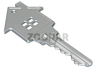 House shaped key isolated on white