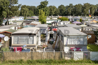 Mobile homes in the town camping Lemmer.