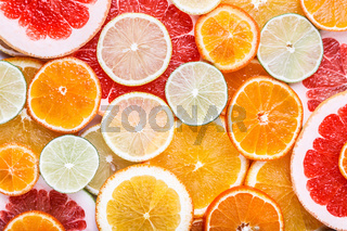 Sliced citrus: oranges, mandarines, lemons, limes, sweetie, grapefruits, witch#39;s broom close-up macro