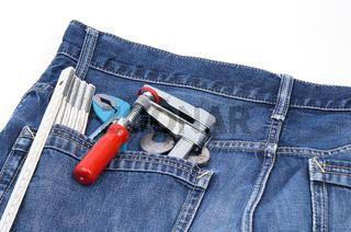 Werkzeuge in Jeanstasche